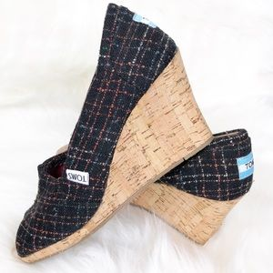 Toms Cork Wedges Black Stripe Fabric Upper 7